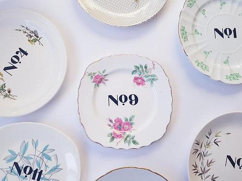 Vintage Plate Table Numbers