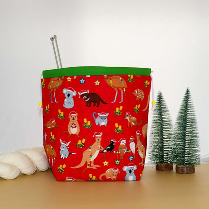 Aussie Christmas Knitting Bag Red
