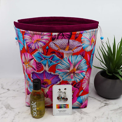 Pink Floral Knitting Bag