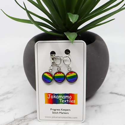 Rainbow Stitch Marker set with progress keeper