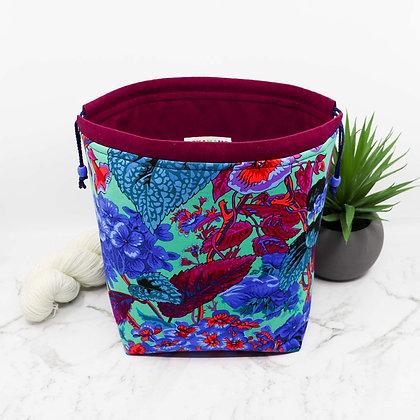 Blue Floral Knitting Bag