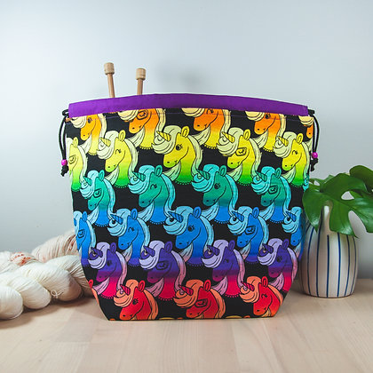 Rainbow Unicorn Knitting Bag Large
