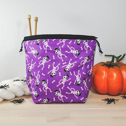 Purple Skeletons Knitting Bag