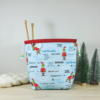 Blue Grinch Knitting Bag