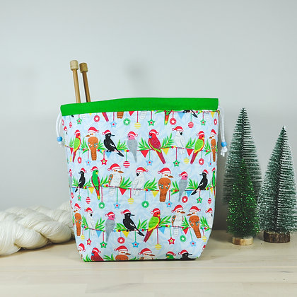 Christmas Lorikeets Knitting Bag