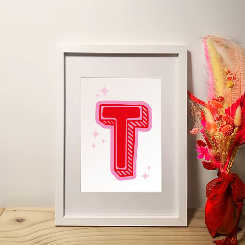 Personalised Initial Doodle   A4   Wall Art