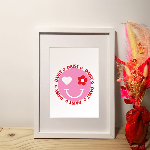 Personalised Name Smiley Face | A4 | Wall Art