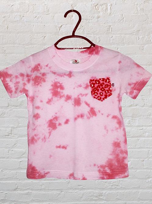 Kids Tie Dye T-Shirt with Leopard print pocket