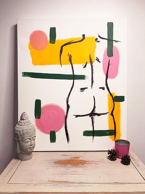 Modern Line Art   Original Box Canvas Painting