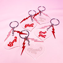 Personalised Heart Keyring | Bolts & Hearts | Pink and Red