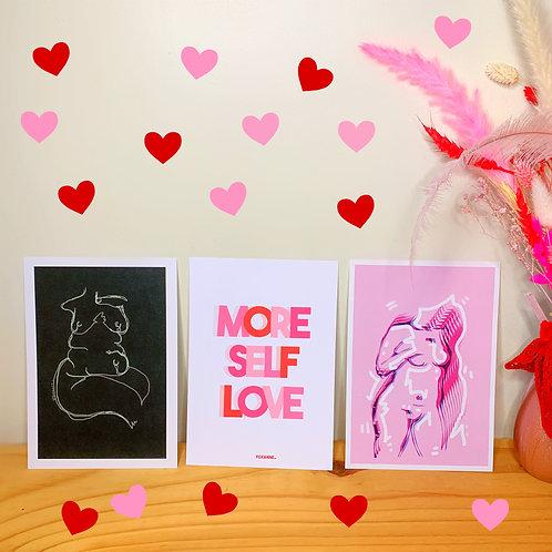 More Self Love Prints   Set of 3   A5   Wall Art