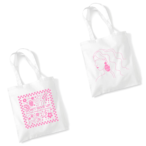 White Tote Bag | Don't Give Up / Be Kind