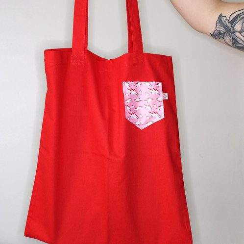 Red Tote Bag With Bolt Pocket
