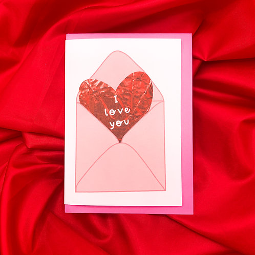I love you A6 Card | Valentines Day | Greetings Card w/ Pink Envelope