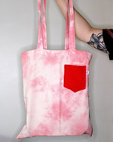 Tie Dye Tote Bag With Red Pocket