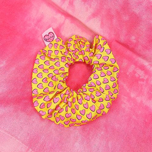 Yellow Hearts Scrunchie