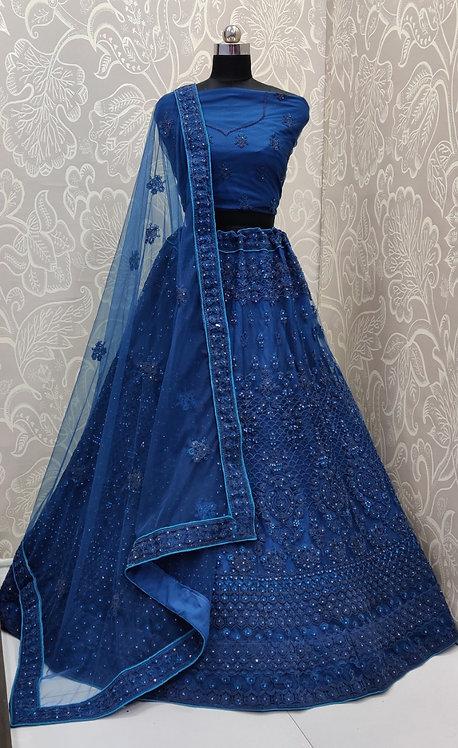 Navy Blue Lehenga (Jewelry Zari Design ) with NetDuppata. (Semi Stitched)