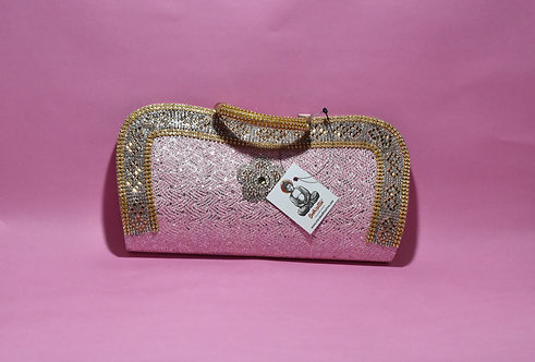 Light PinkParty/ Bridal Clutch with Stone Work.