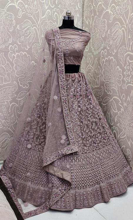 Ligh Maroon Lehenga (Floral Zari Design) with Net Duppata.