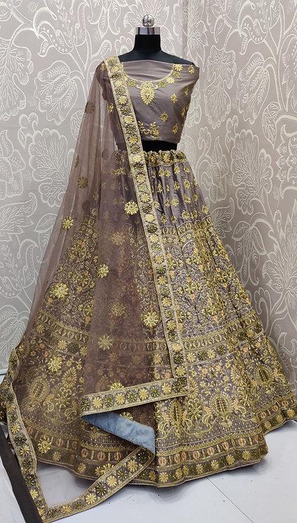 Dark Metallic Grey Lehenga (Floral Zari Design) with Net Duppata.