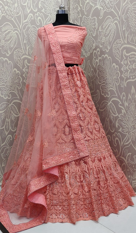 Light Pink Lehenga (Floral Zari Design ) with Net Duppata.