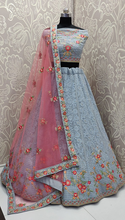 Light Blue Lehenga (Floral Zari Work ) with pink Duppata. (Semi Stitched)