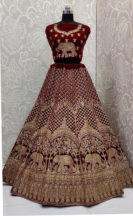 Dark Maroon Bridal Lehenga (Golden Elephant Zari Design ) with NetDuppata.