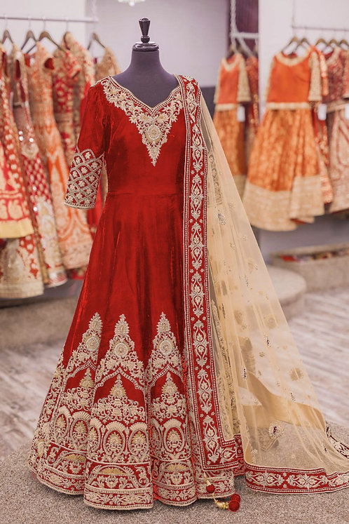 Red Gown Kurti (Gold Zari Work) with Net Duppatta.