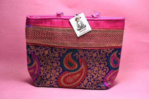 Pink Handmade Cotton Handbag (Leaf Design)