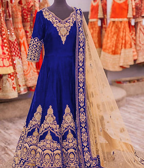 Semi Stitched Blue Gown Kurti (Gold Zari Work) with Net Duppatta