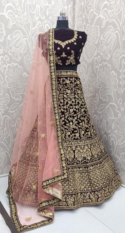 Black Lehenga (Floral Zari Design) with Net Duppata.