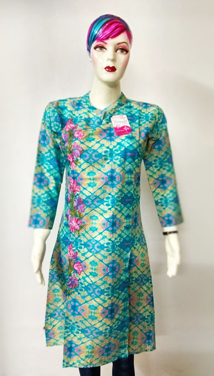 Blue Greenish Floral & Prism Design Kurti.