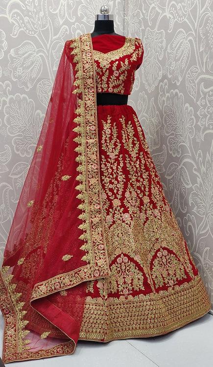 Red Bridal Lehenga (Floral Zari Design) with Net Duppata.