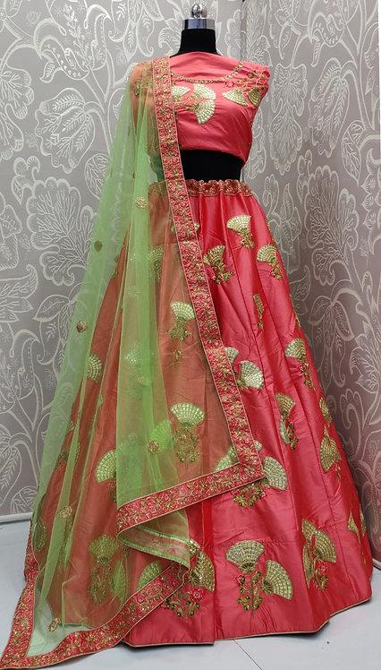 Pink Lehenga (Lily Zari Design) with Green Net Duppata.