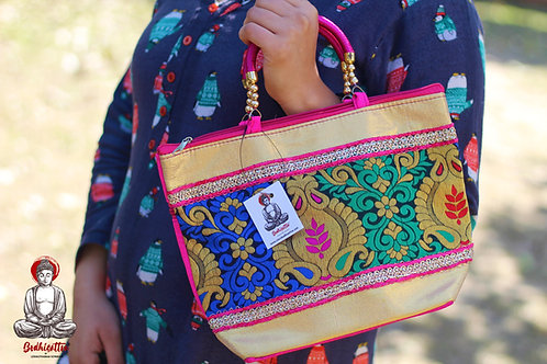 Pink Handmade Cotton Handbag (Leaf & Pot Design).