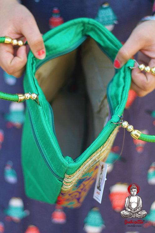 HandmadeGreen Cotton Handbag (Peacock Design).