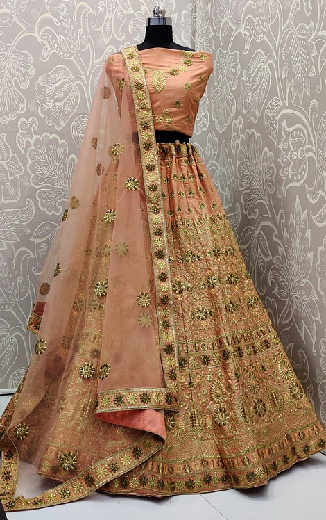 Dark Creamish Pink Lehenga (Floral Zari Design ) with Net Duppata.