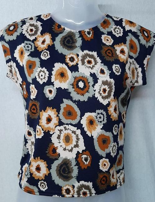 Dark Blue Floral Design Womens Tshirt
