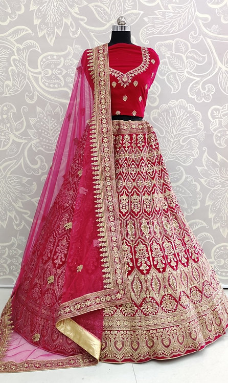 Dark Pink Bridal Lehenga (Earring Design) With Net Duppata.