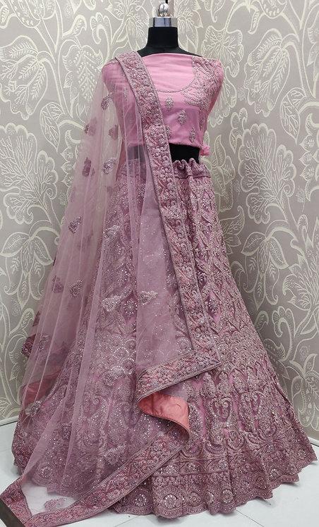 Light Pink Lehenga (Jewelry Zari Design) with Net Duppata.