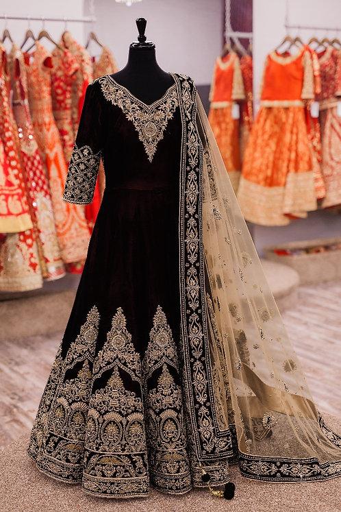 Semi Stiched Black Gown Kurti (Gold Zari Work) with Net Dupatta.