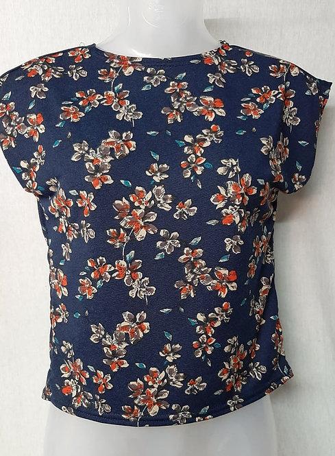 Blue Floral Design Womens Tshirt