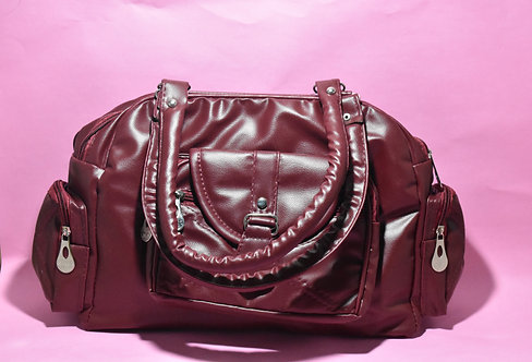 Dark Maroon PU Leather Handbag.
