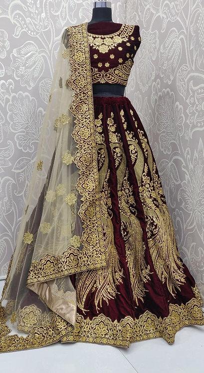 Dark Brown Lehenga (Peacock Zari Design) with Net Duppata.