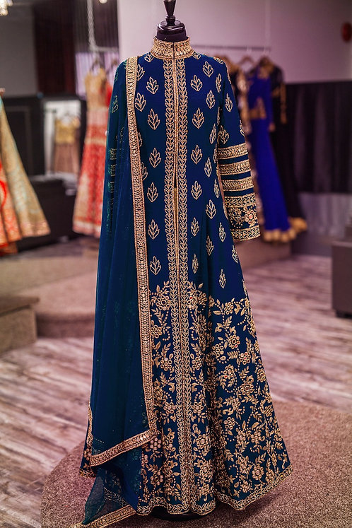 Blue Gown Kurti (Leaves & Branches Zari Design) with Net Duppatta.