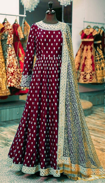 Maroon Gown Kurti with Zari Work Net Duppatta.