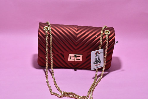 Maroon Red PU Rubber Sling Bag