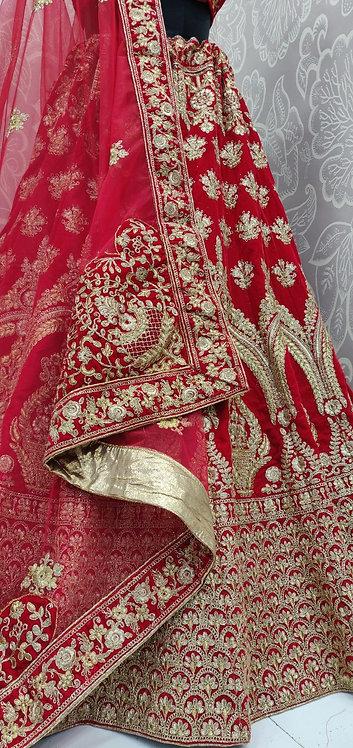 Bright Red Bridal Lehenga (Bouquet Zari Design) with Net Duppata.