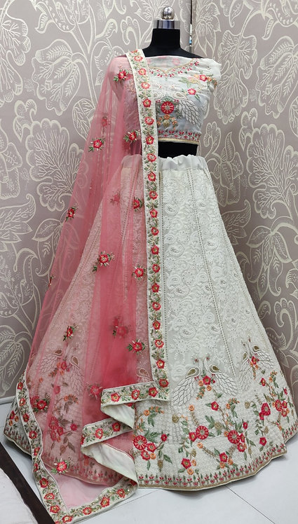 White lehenga (Floral Zari Work ) with Pink Duppata. (Semi Stitched)