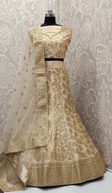 Light Golden Lehenga (Floral Zari Design) with Net Duppatta.